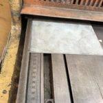 metal going into shearing machine