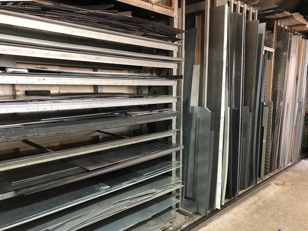 sheared metal on racks