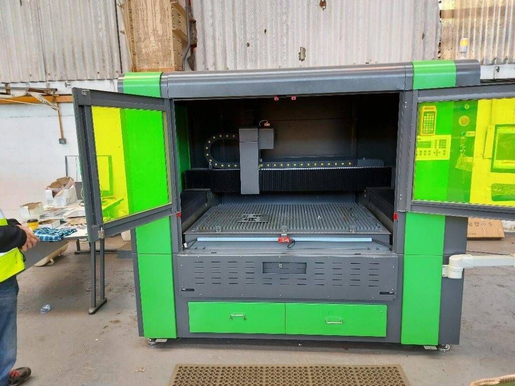 large laser cutting machine with doors open
